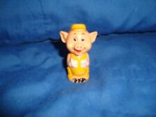 """Vintage DISNEY little Pig yellow outfit Pencil Topper PVC Plastic Figure 2"""" tall"""
