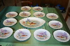 ANTIQUE LIMOGES FLAMBEAU HAND PAINTED PLATTER AND 12 PLATES FISH GAME SET IRIS & Platter Limoges China u0026 Dinnerware | eBay