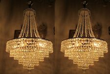 "Pair Of Vnt Gigantic Austrian Real Swarovski Crystal Chandelier 1960's 16"" Ø D*"