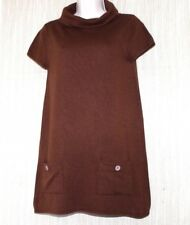MICHAEL KORS Brown Cashmere Silk Cowl Neck Short Sleeve Tunic Sweater Dress Sz.S