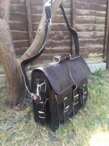 vintage goat leather messenger Real satchel bag genuine laptop Black briefcase