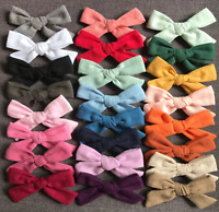 3 Pack Hand-tied Linen Fabri Hair Bows, Handmade bows, Baby bow headbands, Clips