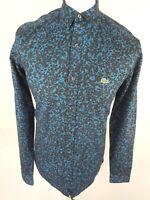 Mens Lacoste Live Shirt 39 Medium Blue Camo Leopard 40 Chest