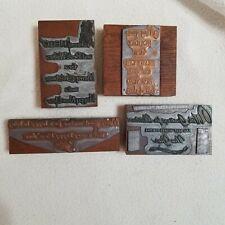 4 Letterpress Printing Print Blocks Cut Christmas New Year Greetings Script Card