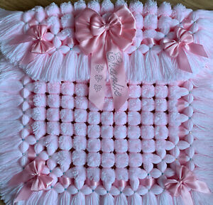 Luxurious Baby Girl Pom Pom Blanket In Pink & White Personalised Diamanté's