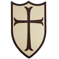 AIRSOFT CRUSADER CROSS SHIELD RUBBER 3D NAVY SEALS PATCH TAN & BROWN PVC LARGE