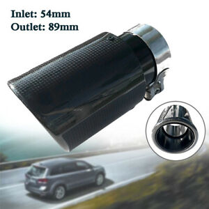 Vehicle Real Car Exhaust Pipe Tail Muffler End Tip 54mm In-89mm Out Carbon Fiber