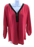 Cure Top Womens Size Small Red with Black Trim 3/4 Sleeve V Neck