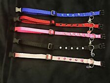 Heavy Duty Nylon Dog Collar. Nylon Dog Collar with Rhinestone Studs and Dog Char