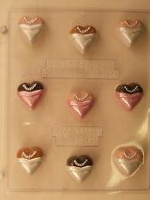 WEDDING DRESS HEART BITE SIZE CLEAR PLASTIC CHOCOLATE CANDY MOLD W074