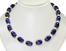 fc3c7fc17082 Precioso Collar de Lapislázuli en Barril con Perlas de Agua Dulce 48 Cm