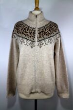 Eddie Bauer Collectibles Fair Isle Floral Cardigan Zip Up Lambswool Sz XL Womens