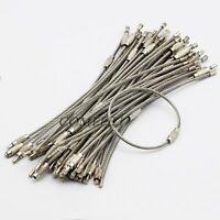 50pcs 15.5cm 6'' Stainless Steel Wire Keychain Screw Clasp Key Ring 2mm Outdoor