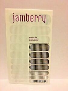 New JAMBERRY Nail Wraps GRAY & SILVER STRIPE Grey Metallic Full Sheet
