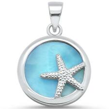 Natural Round Larimar With Starfish .925 Sterling Silver Pendant