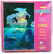 """SunsOut """"7 Dolphins"""" Jigsaw Puzzle 1000 piece by Jim Warren 19""""X30"""" Vintage"""