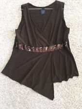 jtb womens XL brown sleeveless stretch knit sequin detail tank top shirt