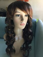 Fashion Curly Wig Bangs Full Wig brown Hair For Women Cosplay