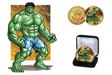 The Incredible Hulk - 24 Kt Gold Plated Colorized JFK Half Dollar Coin with COA