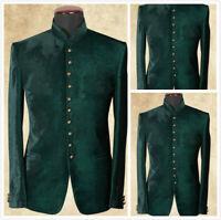 Velvet Green Blazer Coat Men Suit Standing Collar Jacket Tuxedo Wedding
