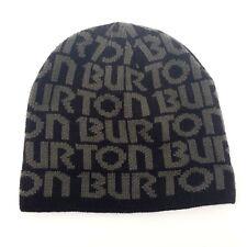 Burton Mens Winter Hat Beanie Snowboarding Ski Cap Black Brown Spell Out