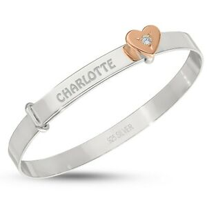 Personalised Baby Bangle Solid Silver Christening Birthday Bracelet Rose Gold CZ