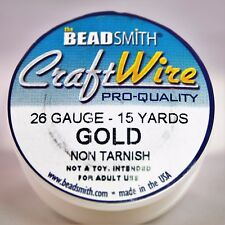 Beadsmith Craft Wire Pro Quality Gold 26 Gauge 15 Yards