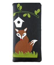 New LAVISHY Checkbook Wallet RED FOX BIRDHOUSE Vegan Faux Leather BLACK Grass