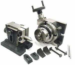 """HV 4""""ROTARY TABLE & M6 CLAMP KIT& TAILSTOCK +T-NUTS (WITH 65 MM 3 JAW SELF CHUCK"""