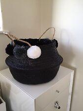Cesta de vientre Seagrass Negro Gris Pom Pom Juguetes De Almacenamiento De Lavandería Casa Panier Boule