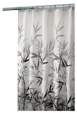 "Interdesign Anzu, 72"" x 72"", Black & Grey Leaf, Printed Fabric Shower Curtain"