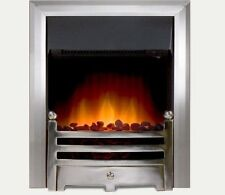 ELECTRIC BRUSHED SILVER SURROUND REMOTE CONTROL PEBBLE FLAME INSERT INSET FIRE