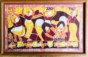 Nice Original Framed & Signed Batik Amos Amit Woman Washing EXCELLENT