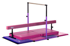 New Kids Gym Set - Horizontal Bar Balance Beam Gymnastics Mats - Pink and Purple