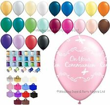 Girls First Holy Communion Helium Balloons Ribbon Weights 10 Table Party Kit Pale Pink White