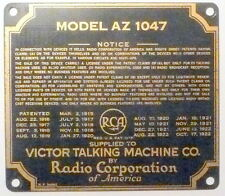 vIntage* RCA AZ 1047 & VICTROLA VE 12 -25 part:  BRASS CABINET NAMETAG & screws