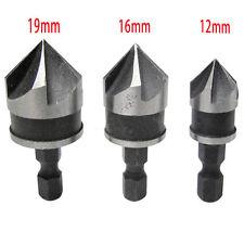 """3Pcs 1/4"""" HSS 6.35mm Hex Shank 5 Flute Chamfer Debur Countersink Drill Bit Set"""