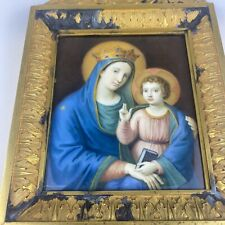 Heiligenbild Gemälde Bronze Rahmen Maria Madonna Jesus Kind Antik 1853 Italien?
