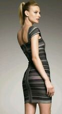 Herve Leger Sandra Black/Grey, Cap Sleeves Dress Brand New, Size XS