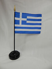 """Closeout Greece 4""""x6"""" Hand Held Table Top Flags International  Flag Ελλάδα"""