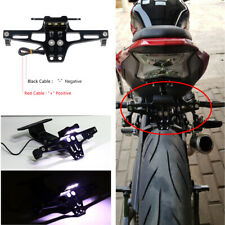 Universal Black Aluminum Motorcycle Rear License Plate Mount Holder w/LED Light