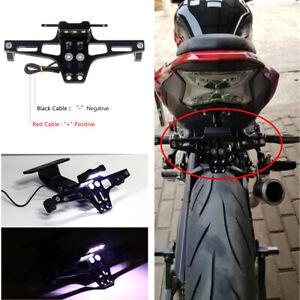 Universal Black Aluminum Motorcycle Rear License Plate Mount Holder w/LED Light