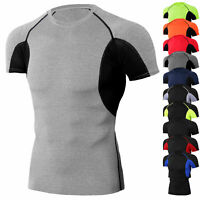 Men's Athletic Compression Shirt Sport Gym Running Short Sleeve Top Cool Dry Tee