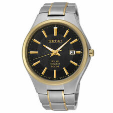 Seiko Men's Two Tone Titanium Bracelet Gold Bezel Watch SNE382