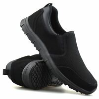 Mens Casual Leather Slip On Memory Foam Walking Running Work Trainers Shoes Size