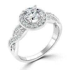 1.85 CW Halo Pave Set Infinity Twist Round Cut CZ Engagement Bridal Ring Size 6