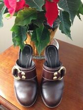 COACH PRE-OWNED CLAUDE CHESTNUT BROWN LEATHER MULE SLIDE BOOT HIGH HEEL 7
