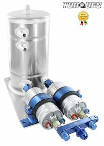 Twin Bosch 044 Fuel Pumps Aluminium Surge Swirl Pot Tank Assembly AN8/AN10 Blue