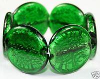 EMERALD GREEN chunky&heavy MURANO GLASS BEAD BRACELET
