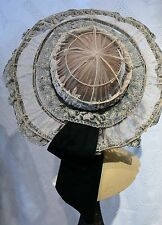 1900-05 All Silk Lace & Embroidered Silk Tulle Hat  Edwardian Romantic Wedding